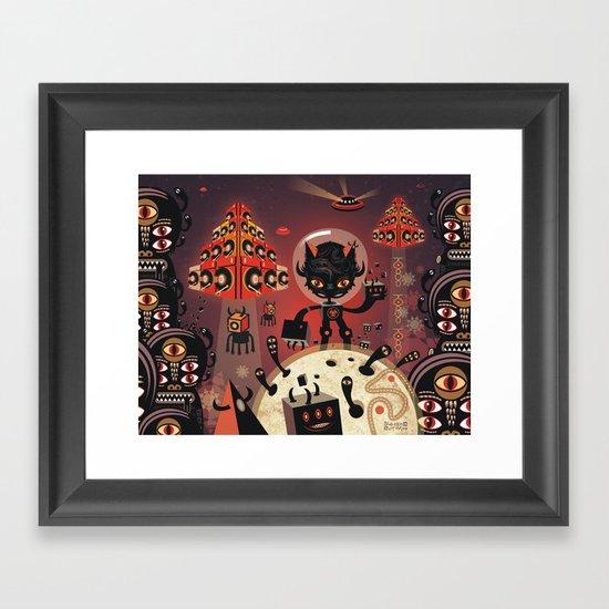 DJ Hammerhand cat - party at ogm garden Framed Art Print