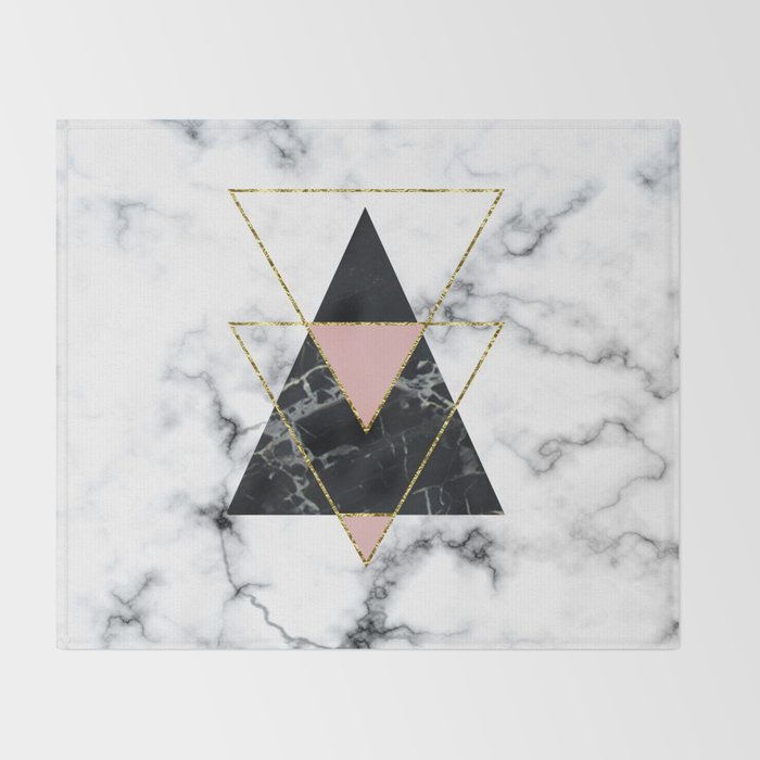 Geo glam marble Throw Blanket