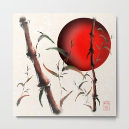 Sumi-e bamboo with a red rising sun Metal Print