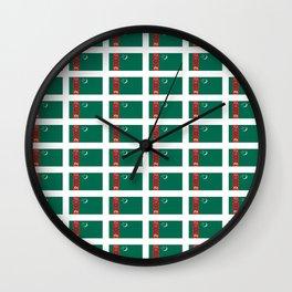 flag of Turkmenistan-Turkmenistan,Turkmenia,Turkmen,Туркменистан, Туркмения Wall Clock