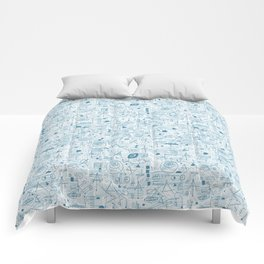 Blue and White Space Inspired Futuristic Pattern Comforters