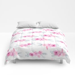 Blush pink gray watercolor hand painted elegant floral Comforters