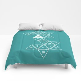 Teal Unrolled D20 Comforters