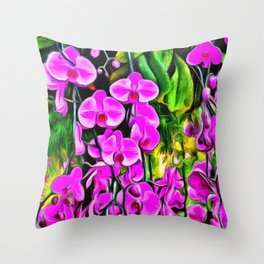 Purple Painterly Orchid Vines Throw Pillow