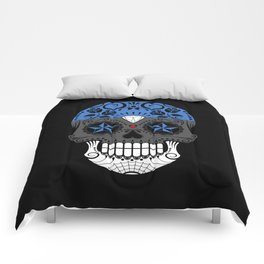 Sugar Skull with Roses and Flag of Estonia Comforters