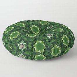 green patchwork mandala stars Floor Pillow
