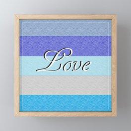 LOVE on Blue Framed Mini Art Print