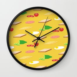 Breakfast Pattern Wall Clock