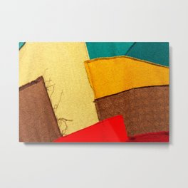 Colorful Textile Patches. Red, Green, Yellow Colors. Natural Abstract Art Metal Print