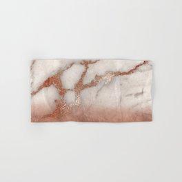Shiny Copper Metal Foil Gold Ombre Bohemian Marble Hand & Bath Towel