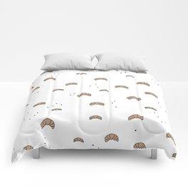 Bonjour good morning breakfast croissant love print Comforters