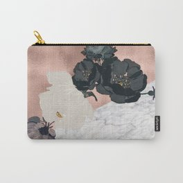 Floral marble rose gold Carry-All Pouch