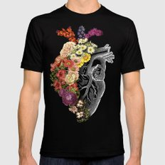 Flower Heart Spring LARGE Mens Fitted Tee Black