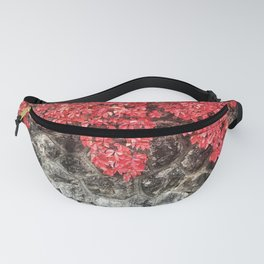 Pink red ivy leaves autumn stone wall Fanny Pack