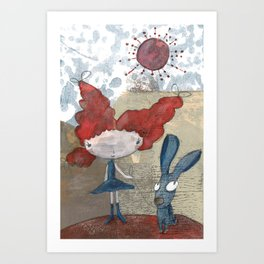Jennu with Rabbit Art Print