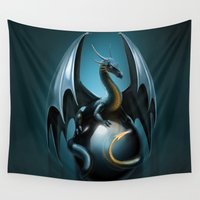 dragon Wall Tapestries featuring dragon by Antracit