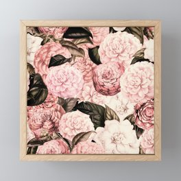 Vintage & Shabby Chic Pink Floral camellia flowers watercolor pattern Framed Mini Art Print