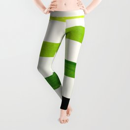 Minimalist Mid Century Modern Sap Green Watercolor Painting Lightning Bolt Zig Zag Pattern With Blac Leggings