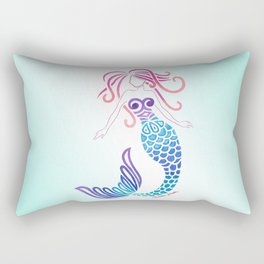 Tribal Mermaid with Ombre Turquoise Background Rectangular Pillow