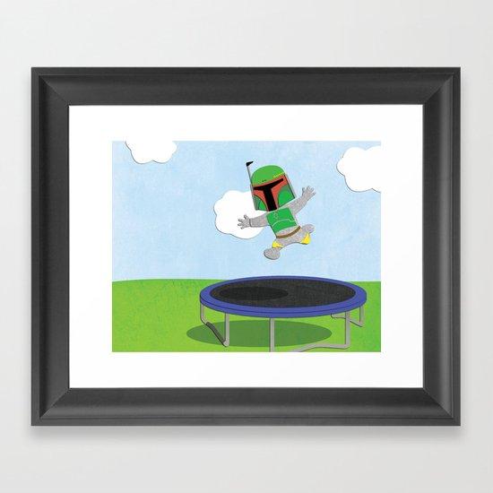 SW Kids - Boba Fett Jump Framed Art Print