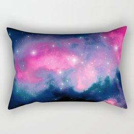 Beautiful Pink and Blue Abstract Cosmic Starry Vista Rectangular Pillow