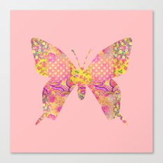 Butterfly Vintage Floral Pink Yellow Shabby Chic Canvas Print