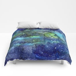 Space Galaxy Blue Green Watercolor Nebula Painting Comforters