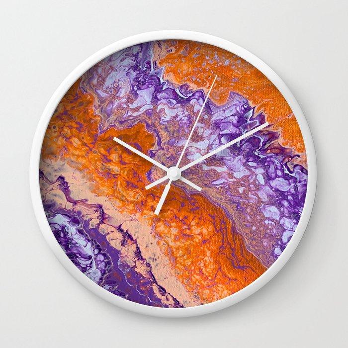 Clemson Orange and Purple Paint Pour Effect Wall Clock