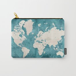Teal watercolor and light brown world map Carry-All Pouch