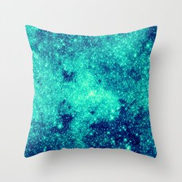 Teal Turquoise GalaXy. Sparkle Stars Throw Pillow