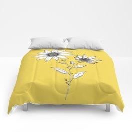 Wildflower line drawing | Botanical Art Comforters