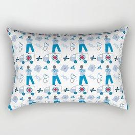 Wellness Health Medical Symbols Doctors and  Nurse Rectangular Pillow