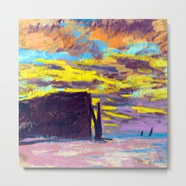 Claude Monet Sunset at Etretat Metal Print
