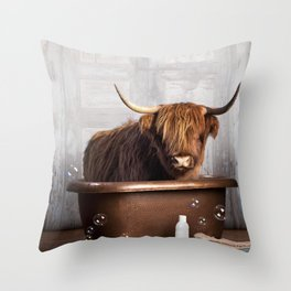 Highland Cow in the Tub Throw Pillow