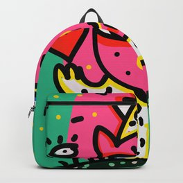 Cool Pink Cat Street Art Graffiti Backpack
