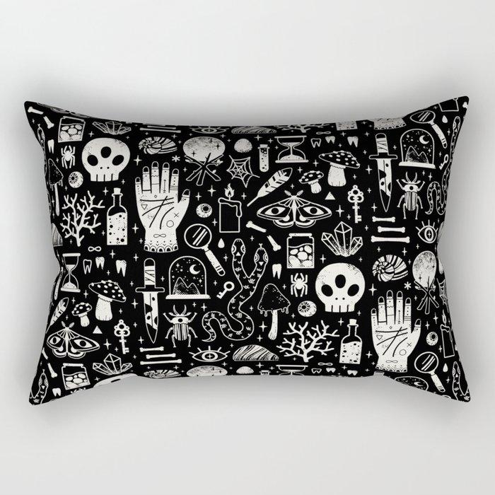 Curiosities: Bone Black Rectangular Pillow