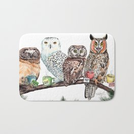 Tea owls , funny owl tea time painting by Holly Simental Bath Mat