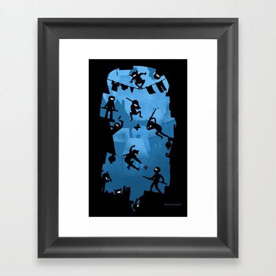 Ninja Kick Ass Clash Framed Art Print