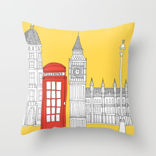 Capital Icons 4 // London Red Telephone Box Throw Pillow