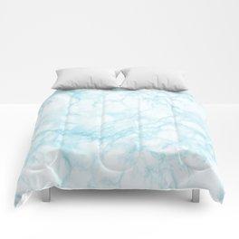 Elegant pastel blue white modern marble Comforters