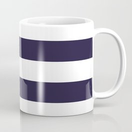 Dark eclipse Blue and White Wide Horizontal Cabana Tent Stripe Coffee Mug