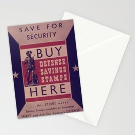 Vintage American World War 2 Stamp Poster - Save for Security Stationery Cards