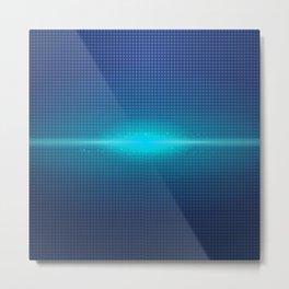 Blue Abstract Light Burst Design Metal Print