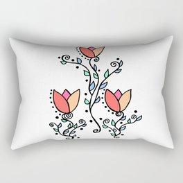 Three Tulips Doodle Art – Coral Pink Yellow Rectangular Pillow