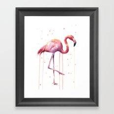 Pink Flamingo Portrait Watercolor Animals Birds | Facing Right Framed Art Print