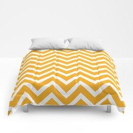 orange, white zig zag pattern design Comforters