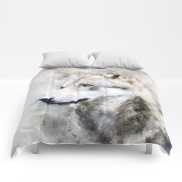 Watercolour grey wolf portrait Comforters