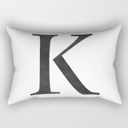 Letter K Initial Monogram Black and White Rectangular Pillow