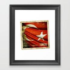 Grunge sticker of Turkey flag Framed Art Print