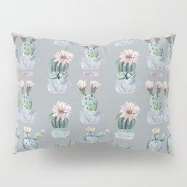 Potted Cactus Plants Gray Pillow Sham